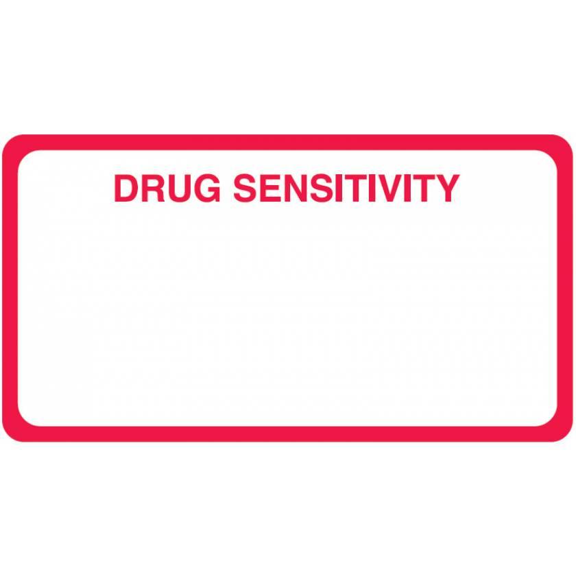 "DRUG SENSITIVITY Label - Size 3 1/4""W x 1 3/4""H"