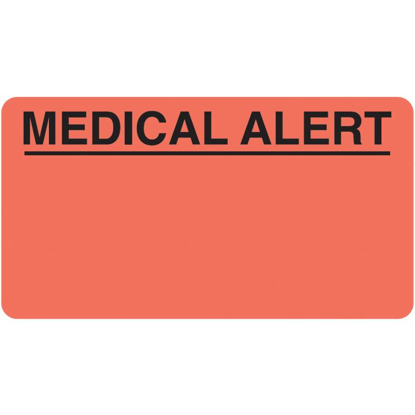"MEDICAL ALERT Label - Size 3 1/4""W x 1 3/4""H - Fluorescent Red"