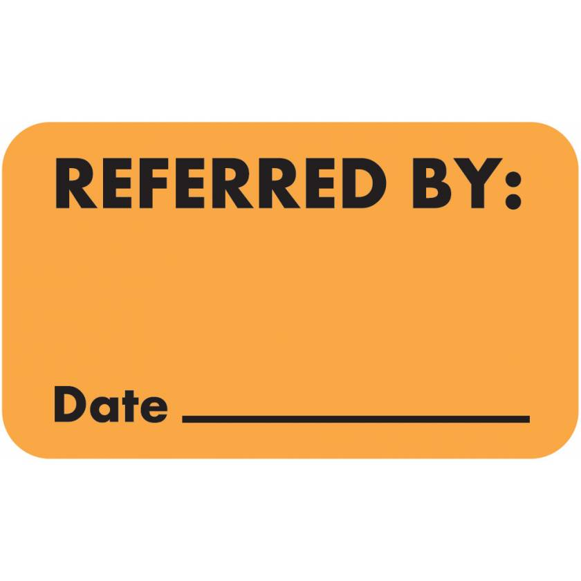 "REFERRED BY Label - Size 1 1/2""W x 7/8""H"