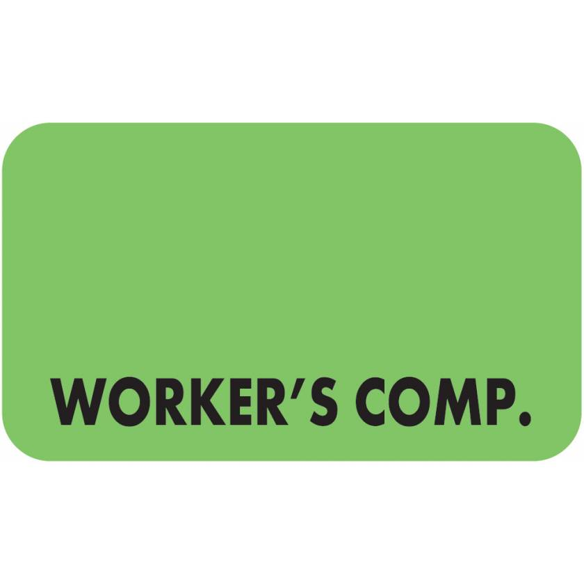 """WORKER'S COMP. Label - Size 1 1/2""""W x 7/8""""H"""