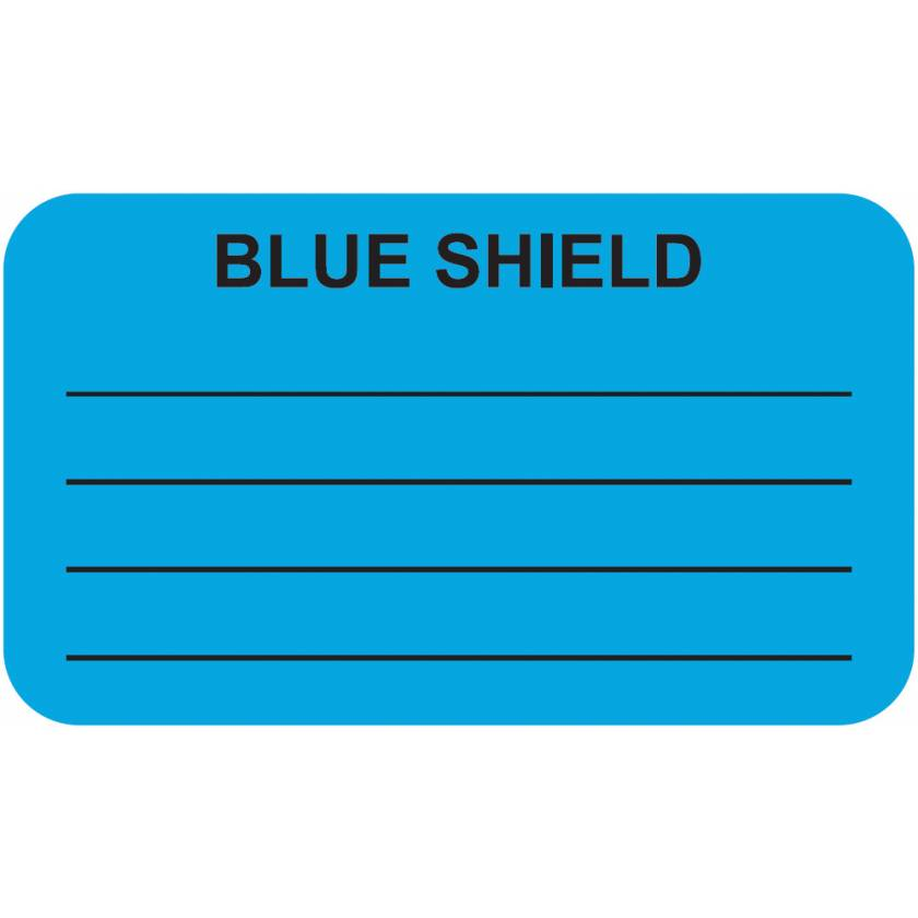 "BLUE SHIELD And Blank Lines Label - Size 1 1/2""W x 7/8""H"