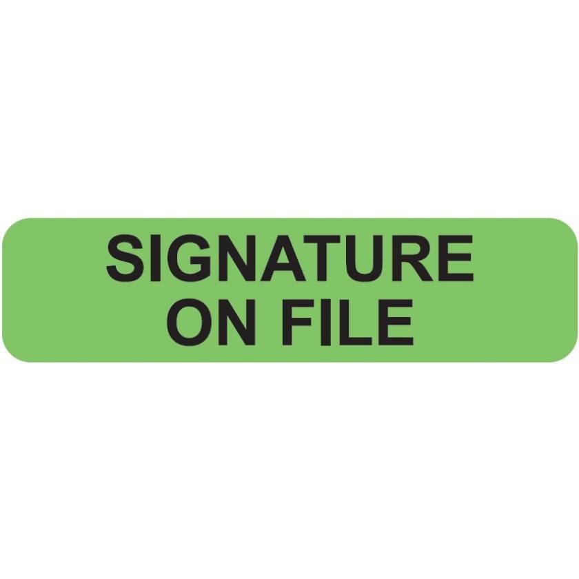 "SIGNATURE ON FILE Label - Size 1 1/4""W x 5/16""H"