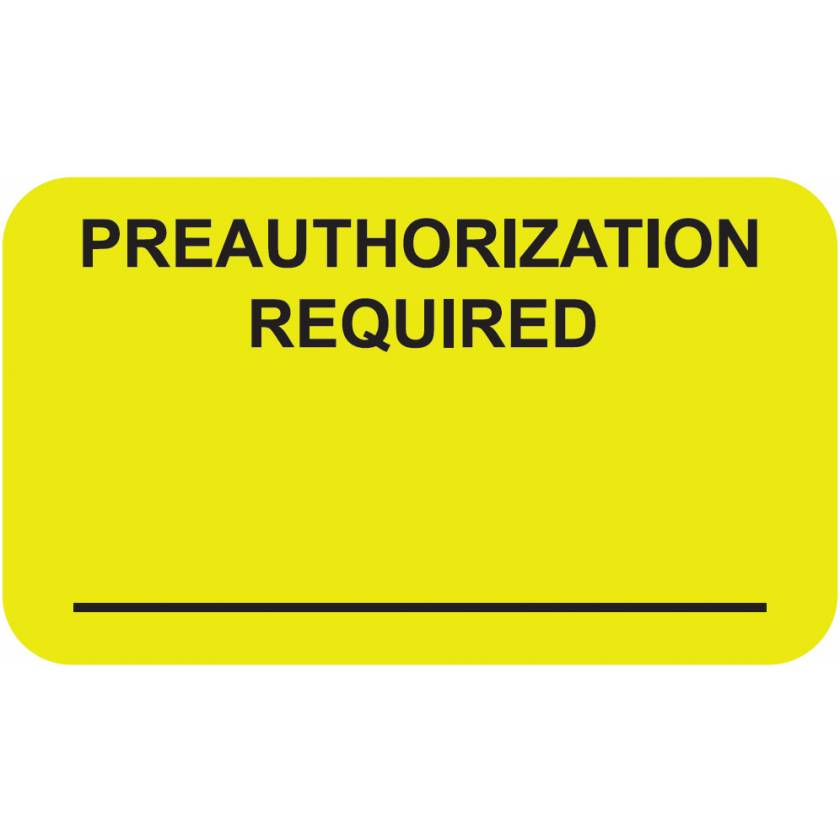 "PREAUTHORIZATION REQUIRED Label - Size 1 1/2""W x 7/8""H"
