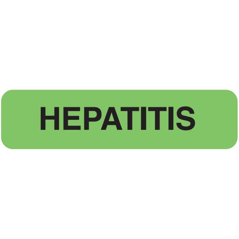 "HEPATITIS Label - Size 1 1/4""W x 5/16""H"