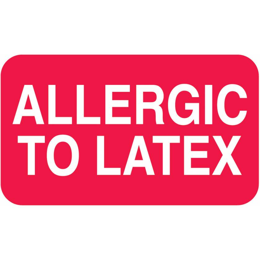 "ALLERGIC TO LATEX Label - Size 1 1/2""W x 7/8""H"