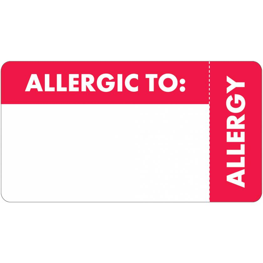 """ALLERGIC TO Label - Size 3 1/4""""W x 1 3/4""""H - Right Side Wrap-Around"""