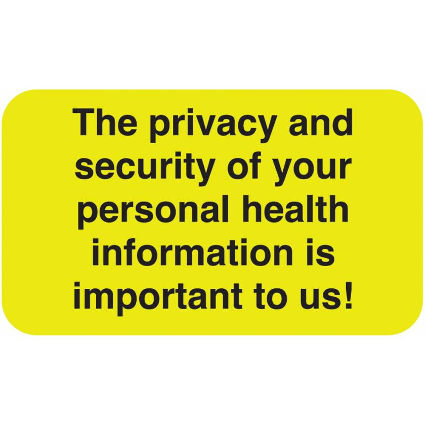 """THE PRIVACY AND SECURITY Label - Size 1 1/2""""W x 7/8""""H"""