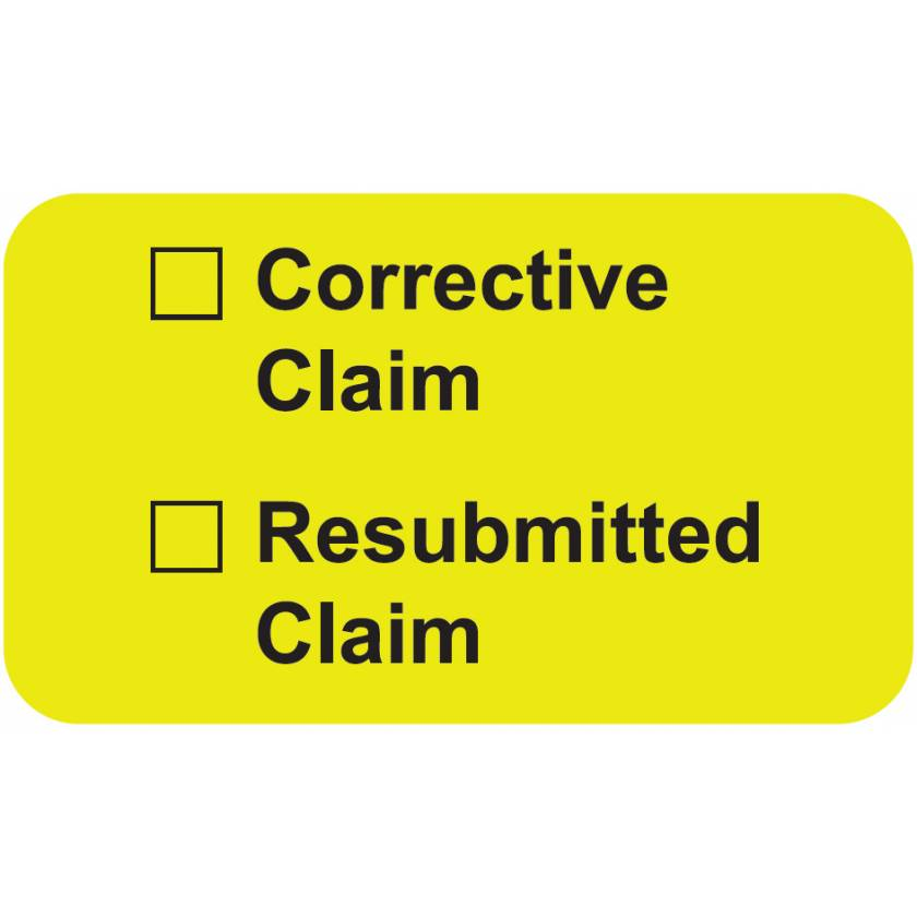 "CORRECTIVE CLAIM RESUBMITTED CLAIM Label - Size 1 1/2""W x 7/8""H"