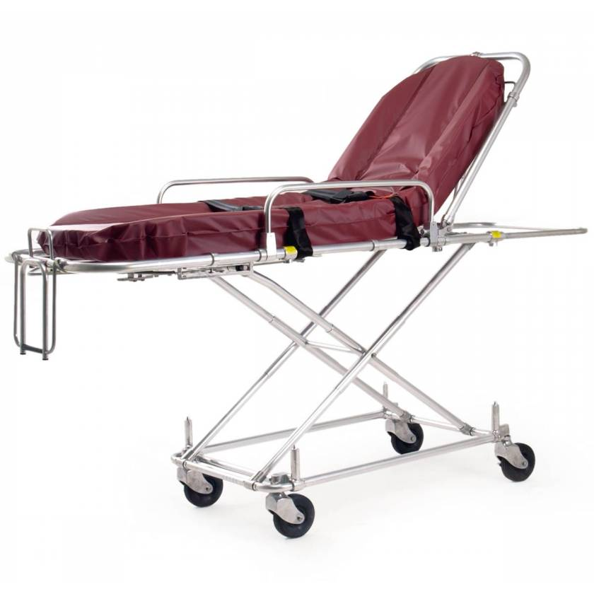 Ferno Model 30-NM MRI Non-Magnetic Multi-Level Lift-In Cot with Burgundy 360 Mattress
