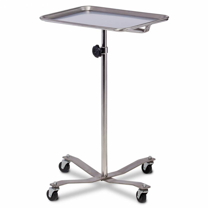 Clinton Model MS-29 Mobile Stainless Steel Instrument Stand With Stainless Steel Base