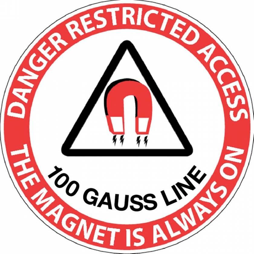 """Danger Restricted Access 100 Gauss Line"" MRI Non-Magnetic Sticker"