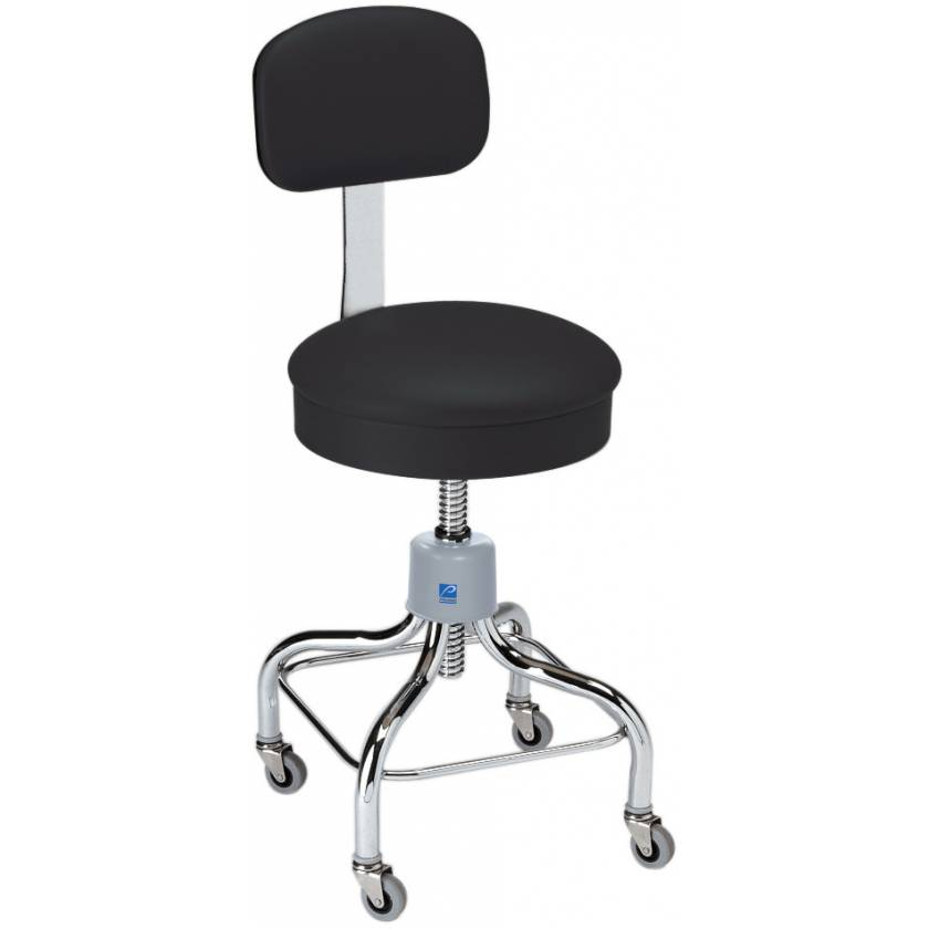 Pedigo Adjustable Round Seat Chrome Stool With Backrest & Casters