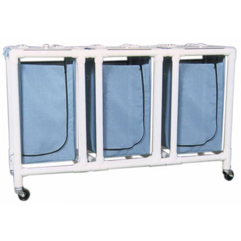 MRI-Conditional Triple PVC Hamper Cart - Regular Capacity