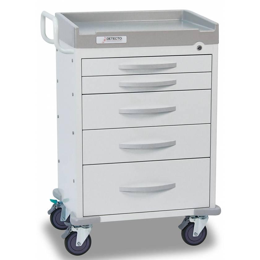 DETECTO Rescue Series General Purpose Medical Cart - 5 White Drawers