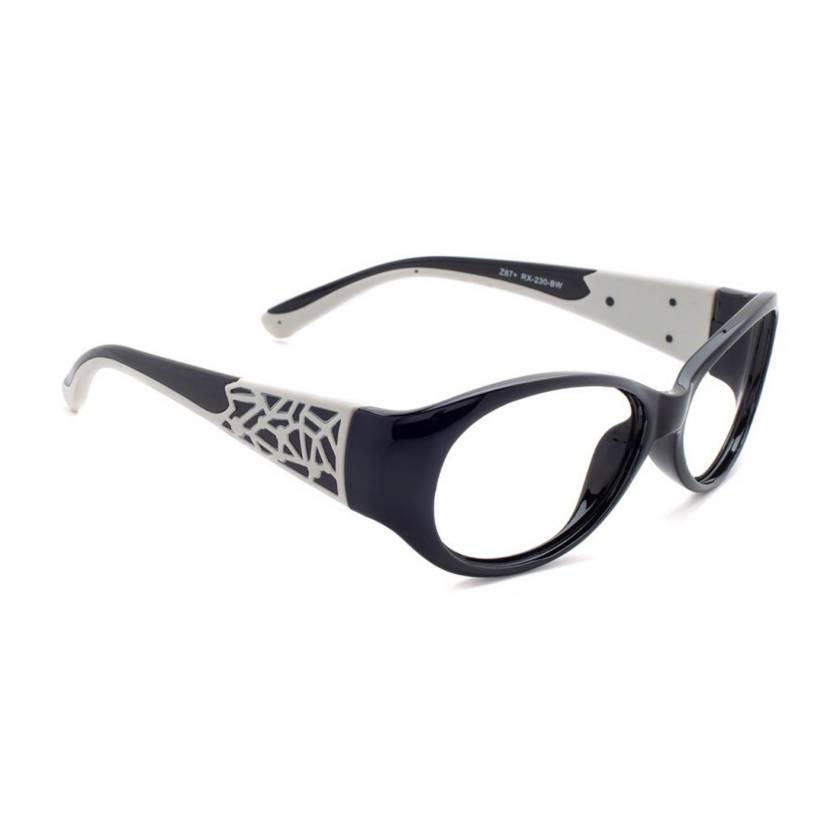 Model 230 Women's Plastic Frame Radiation Glasses - Black/White