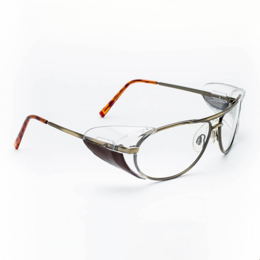 Model 600 Aviator Metal Radiation Glasses with Side Shields - Gold