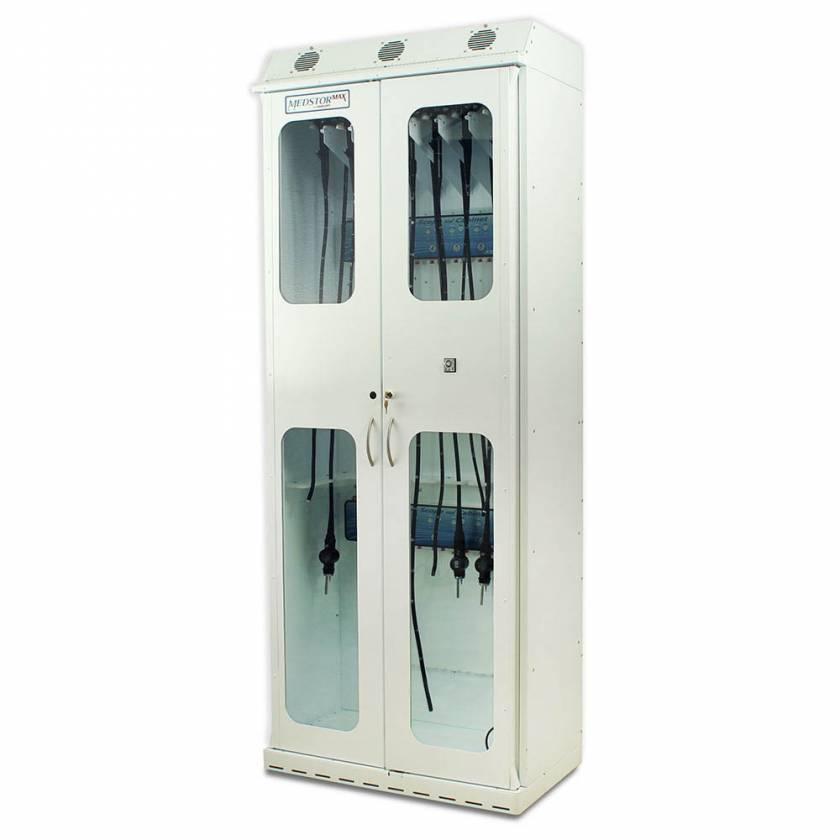 Harloff SC8136DRDP-DSS3316 White Powder Coated Steel SureDry 15 Scope Drying Cabinet with Dri-Scope Aid - Key Locking Tempered Glass Doors