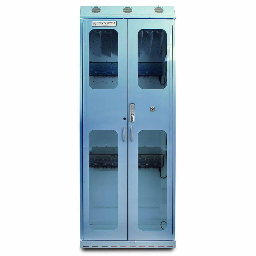 Harloff SC8136DREDP-DSS3316 Light Blue Powder Coated Steel SureDry 15 Scope Drying Cabinet with Dri-Scope Aid - Basic Electronic Push Button Locking Tempered Glass Doors