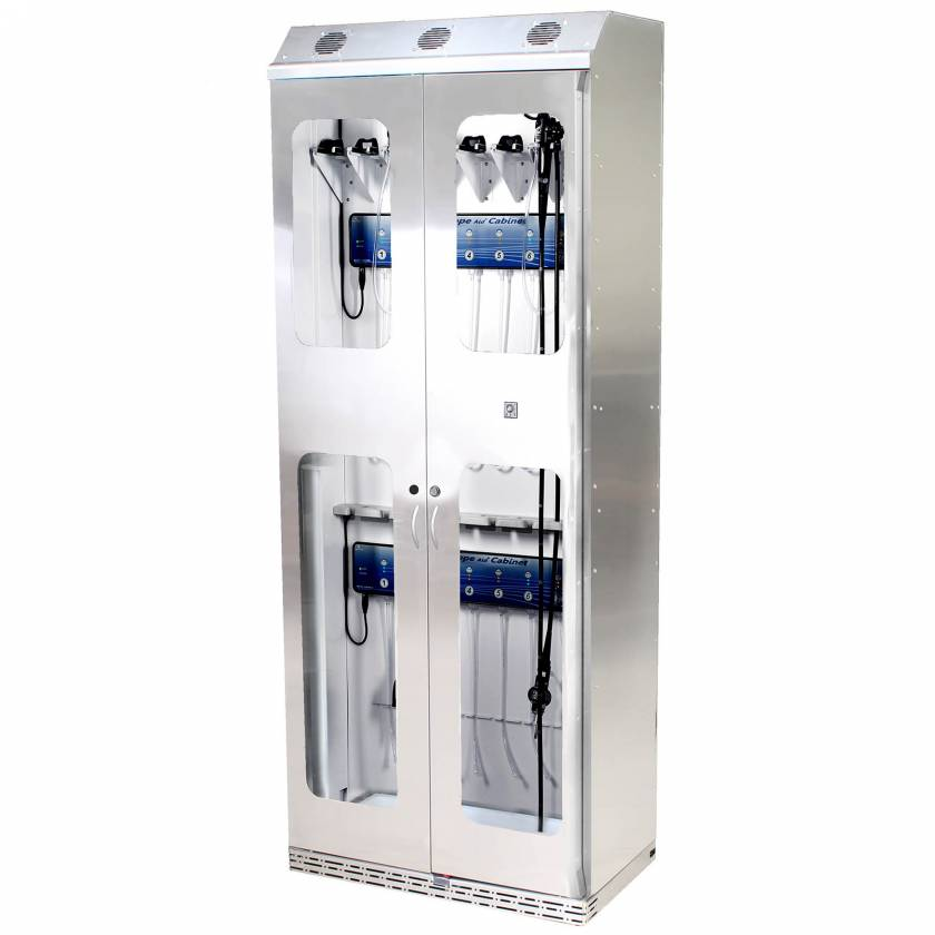 Harloff SCSS8136DRDP-DSS3316 Stainless Steel SureDry 15 Scope Drying Cabinet with Dri-Scope Aid - Key Locking Tempered Glass Doors
