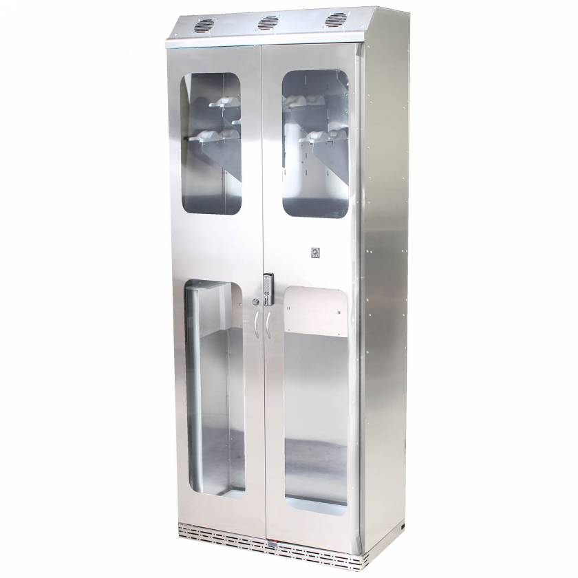 Harloff SCSS8136DREDP Stainless Steel SureDry 16 Scope Drying Cabinet - Basic Electronic Push Button Locking Tempered Glass Doors