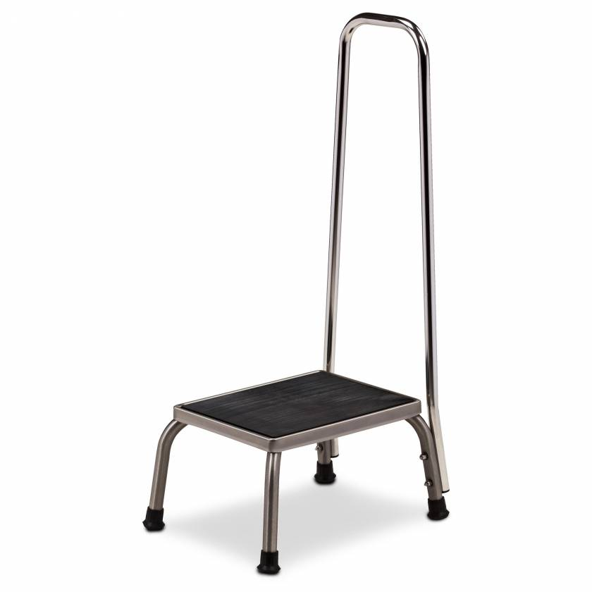 Clinton Model SS-150 Stainless Steel Step Stool with Hand Rail