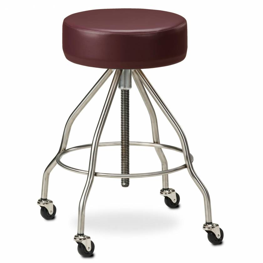 """Clinton Model SS-2172 Stainless Steel Stool With Casters, 4"""" Thick Padded Seat & Extra Wide Base"""
