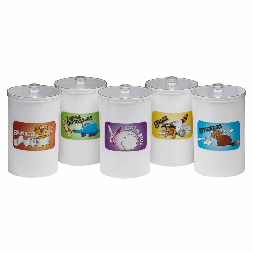 """Clinton T-66 Labeled, Opaque Plastic """"Animal Pals"""" Sundry Jar"""