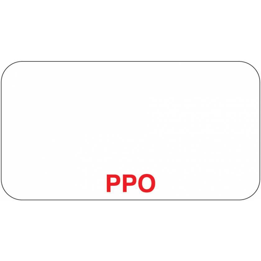 "PPO Label - Size 1 5/8""W x 7/8""H"