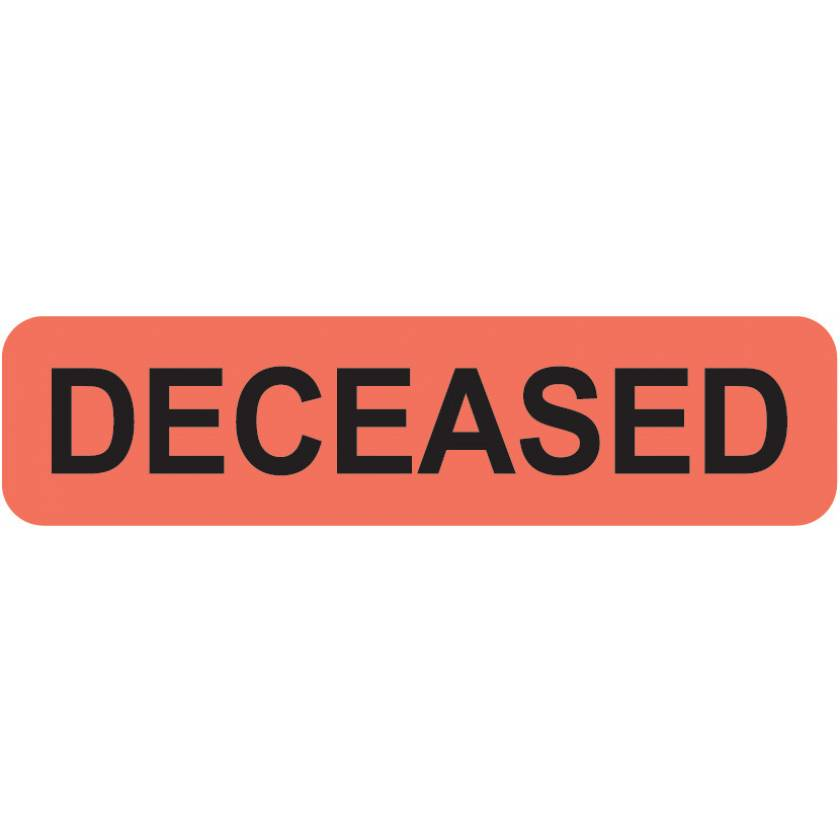 """DECEASED Label - Size 1 1/4""""W x 5/16""""H - Fluorescent Red"""