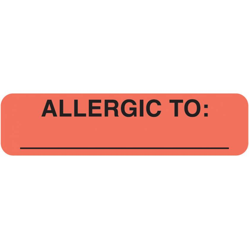 """ALLERGIC TO Label - Size 1 1/4""""W x 5/16""""H"""
