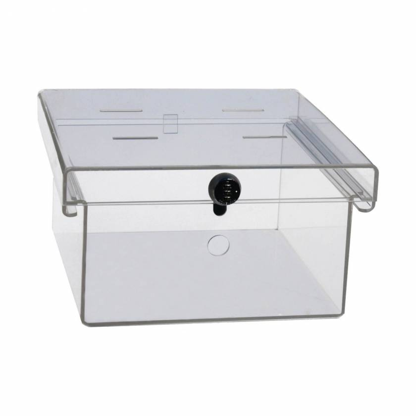 UM3093 Clear Acrylic Refrigerator Lock Box Shown with Combination Lock