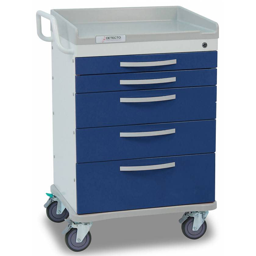 DETECTO Whisper Series Anesthesiology Medical Cart 5 Blue Drawer