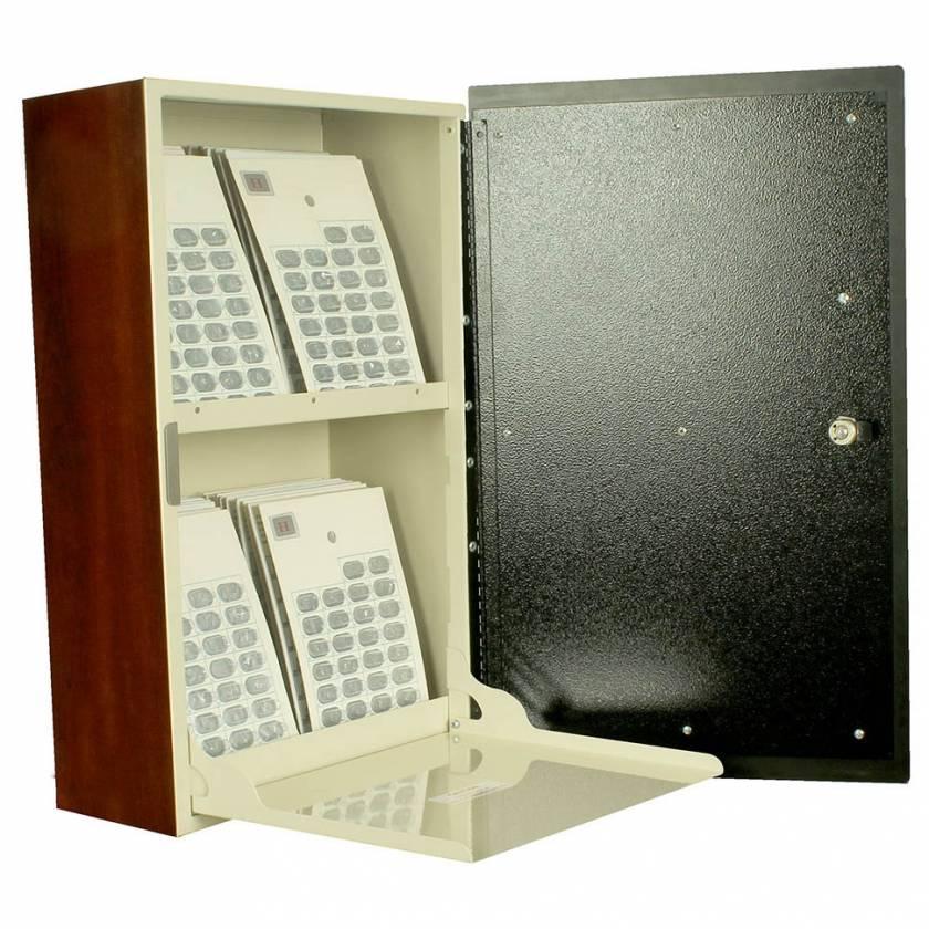 Harloff WL2761-DC Wood Laminate Wall Mount Medication Cabinet, Single Key Lock, Single Door with Dark Cherry Decorative Panel