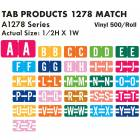 "Tab Products 1278 Match Alpha Roll Labels - 1/2""H x 1""W"