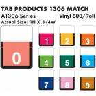 """Tab Products 1306 Match A1306 Series Numeric Color Code Roll Labels - 1""""H x 3/4""""W"""