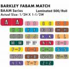 """Barkley FABAM Match BAAM Series Alpha Roll Labels - 1/2""""H x 1 1/2""""W"""