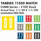"Tabbies 11500 Match CLNM Series Numeric Roll Labels with Skirt - 1 1/2""H x 1 1/2""W"