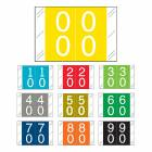 "Barkley FDSTM Match CTDM Series Double Digit Numeric Color Code Roll Labels with Skirt - 1""H x 1 1/2""W"