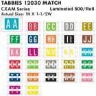"Tabbies 12030 Match CXAM Series Alpha Roll Labels - 1""H x 1 1/2""W"