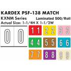 "Kardex PSF-138 Match KXNM Series Numeric Roll Color Code Labels - 1 1/4""H x 1 1/2""W"