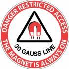 """Danger Restricted Access 30 Gauss Line"" MRI Non-Magnetic Sticker"