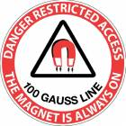 """Danger Restricted Access 100 Gauss Line"" MRI Non-Magnetic Sticker"