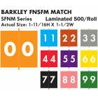 "Barkley FNSFM Match SFNM Series Numeric Color Code Roll Labels - 1 11/16""H x 1 1/2""W"