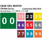 "S & W KKL Match SWNM Series Numeric Roll Color Code Labels - 1 1/2""H x 1 1/2""W"