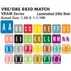 "VRE GBS 8850 Match VRAM Series Alpha Roll Labels - 1 3/10""H x 1 1/4""W"