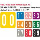 """VRE/GBS 8860 Match System 1 VRNM Series Numeric Roll Color Code Labels - 1 3/10""""H x 1 1/4""""W"""